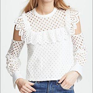Endless rosé eyelet cold shoulder blouse
